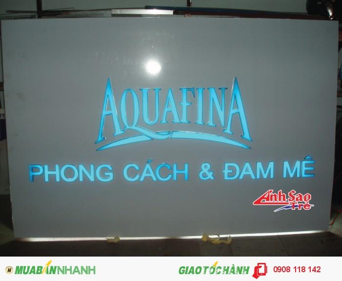 Ánh Sao trẻ nhận thiết kế và lắp đặt bảng hiệu đèn led cho AQUAFINA, kích thước và thiết kế dựa trên yêu cầu của khách hàng.