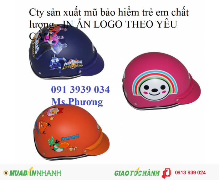 Mũ bảo hiểm trẻ em, xưởng mũ bảo hiểm trẻ em in logo