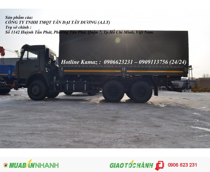 Xe Kamaz 53229 thùng/ Kamaz thùng 3 chân 6m3 & 7m / Bán xe Kamaz 3 chân tại Bình Phước 1