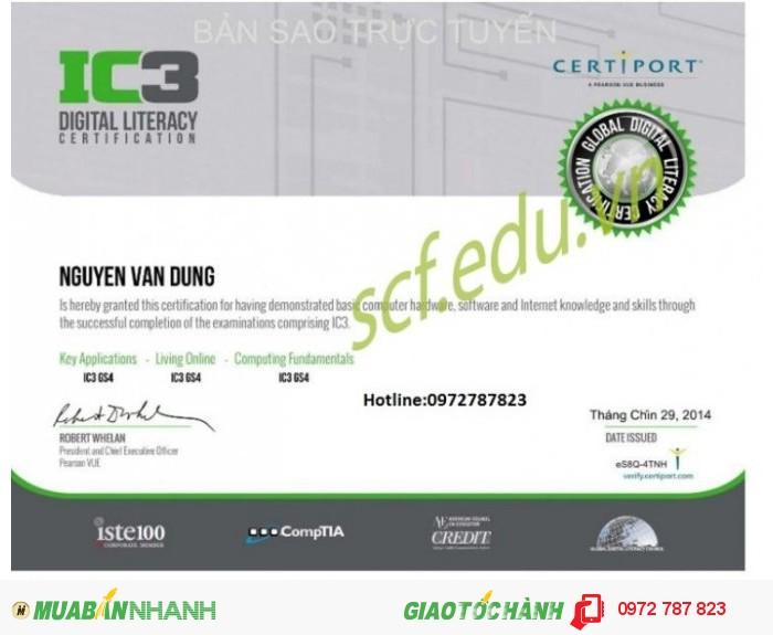 Tuyển sinh lớp ôn-thi chứng chỉ tin học quốc tế IC3