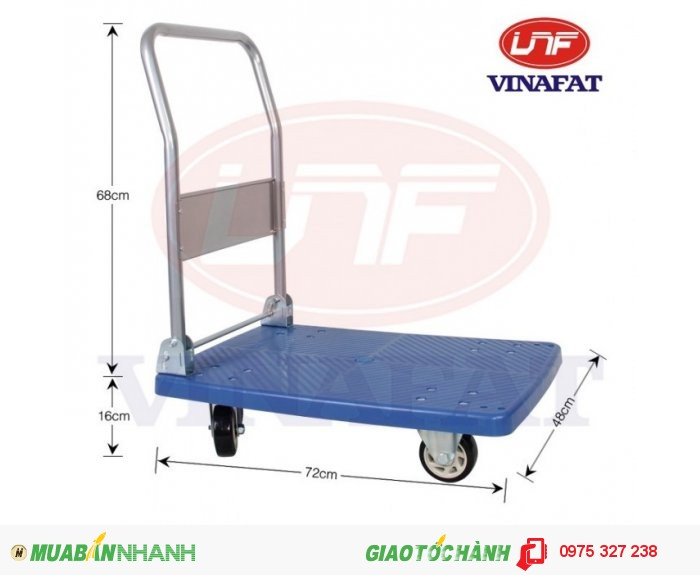 Kiểu xe: xe đẩy sàn nhựa gấp gọn  Kích thước : 750 x 1200 x 890mm  Đường kính bánh xe: 100mm  Tải trọng:150kg  Trọng lượng 11kg0