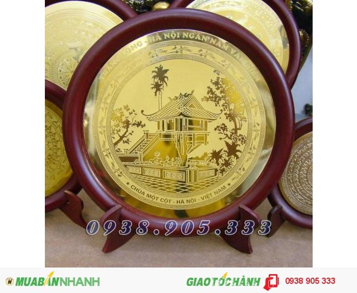Đĩa đồng ăn mòn HỒ CHÍ MINH,KHUÊ VĂN CÁC,CHÙA MỘT CỘT làm quà tặng sự kiện,đối tác0
