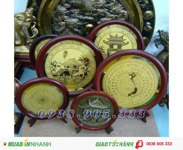 Đĩa đồng ăn mòn HỒ CHÍ MINH,KHUÊ VĂN CÁC,CHÙA MỘT CỘT làm quà tặng sự kiện,đối tác 2