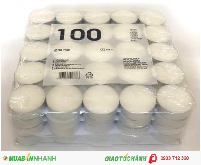 - Nến tealight trắng 100 viên ko mùi thơm- 130.000 đ/bịch - Trọng lượng sáp: 1.200...