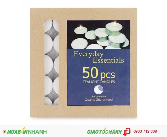 - Tealight trắng 50 viên ko mùi thơm - 65.000 đ/hộp. - Trọng lượng sáp: 600 gram/hộ...