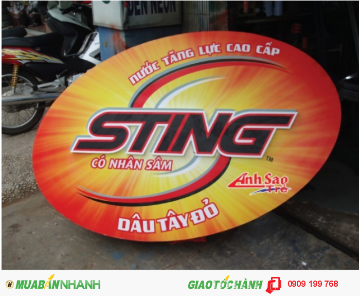 Ánh Sao Trẻ thi công bảng hiệu chữ nổi cho bảng quảng cáo Sting | Bảng hiệu với chữ màu đỏ cắt hình theo chữ khách gửi.