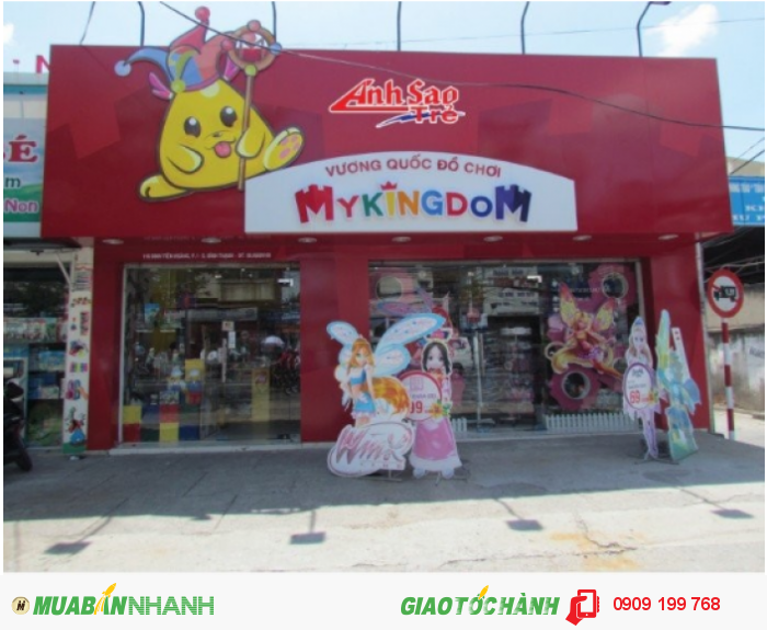 Thi công mặt dựng alu cho Vương quốc đồ chơi MyKingDom | Mặt dựng Alu màu đỏ, chữ MyKingDom ép nổi, biểu tượng linh vật của MyKingDom được thi công chi tiết cẩn thận
