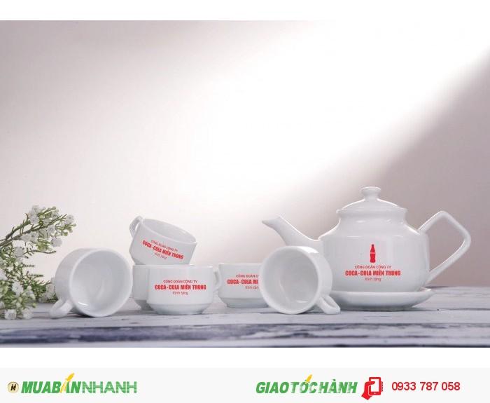 Bộ ấm trà làm quà tặng giá rẻ, ấm trà in logo làm quà tặng giá rẻ0