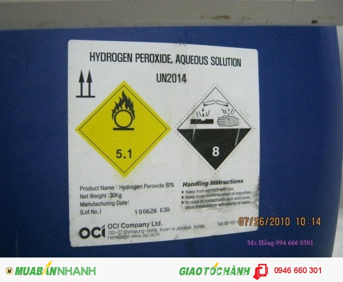 Hydrogen peroxit , H2O2, Oxy già0