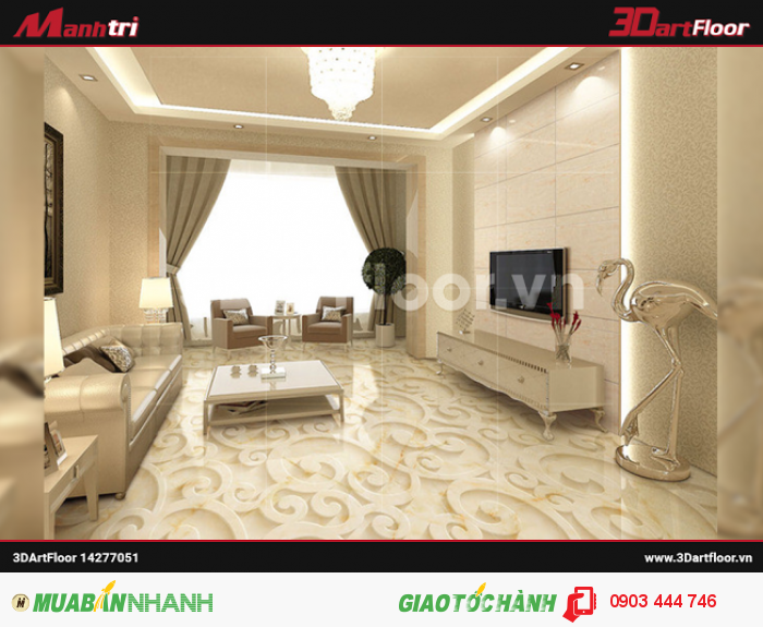 Gạch 3D Mạnh Trí lót nền không gian nội thất