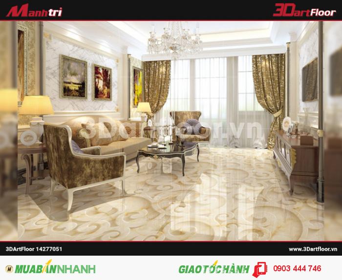 Gạch 3D Mạnh Trí lót sàn phòng khách