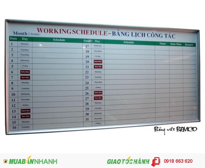 Bảng lịch công tác tháng 1,2 x 2m0