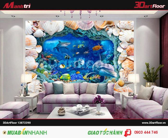 Gạch 3D cá heo lót nền phòng khách