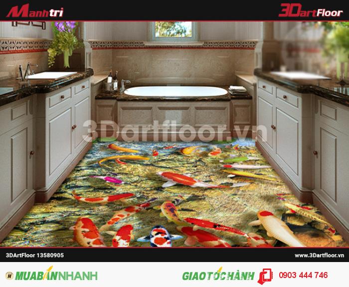 Gạch 3D đại dương lát sàn phòng bếp
