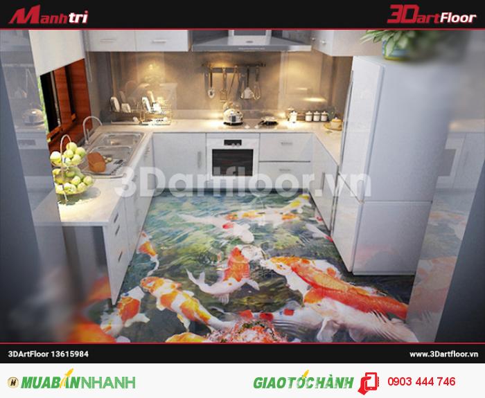 Gạch 3D hồ cá trang trí phòng bếp
