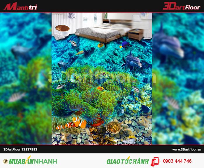 Gạch 3D đại dương lát sàn phòng khách