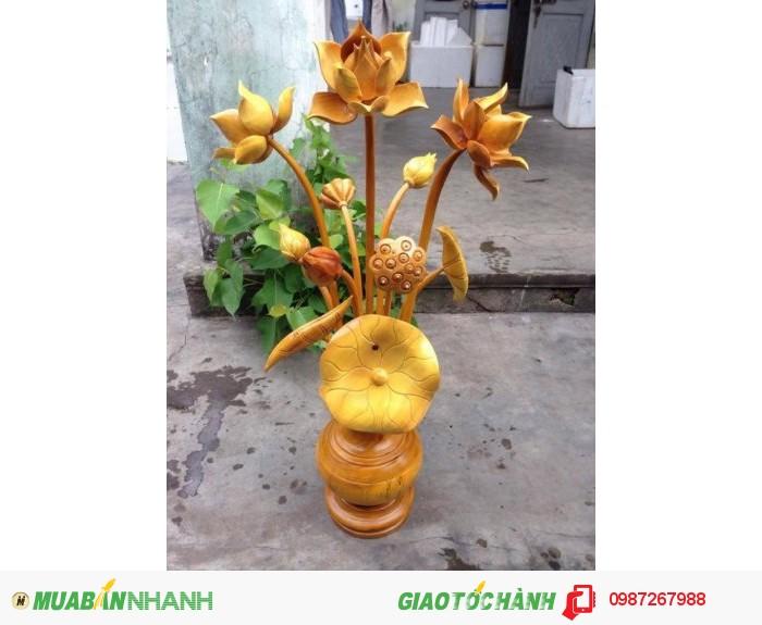 bình hoa sen gỗ tại quảng nam, binh hoa sen gỗ đà nẵng, bình hoa sen gỗ miền trung,0
