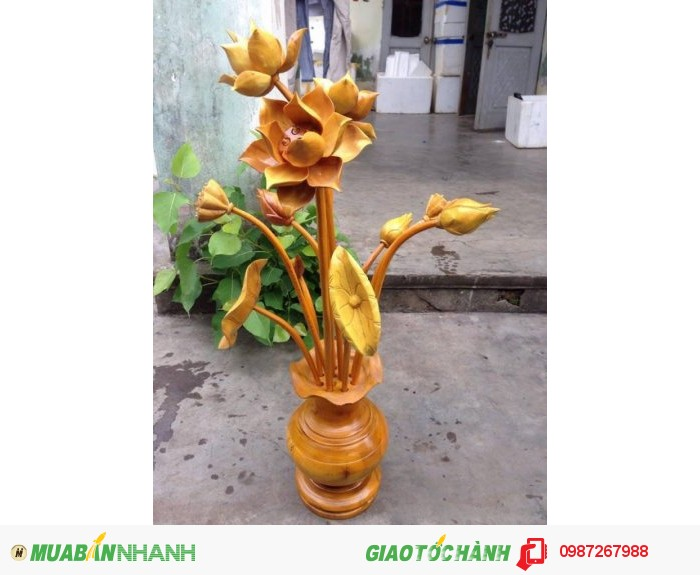 bình hoa sen gỗ  được sản xuât tai xưởng  quảng nam-đà nẵng đẹp giá bình đân thích hợp cho mọi gia đình1