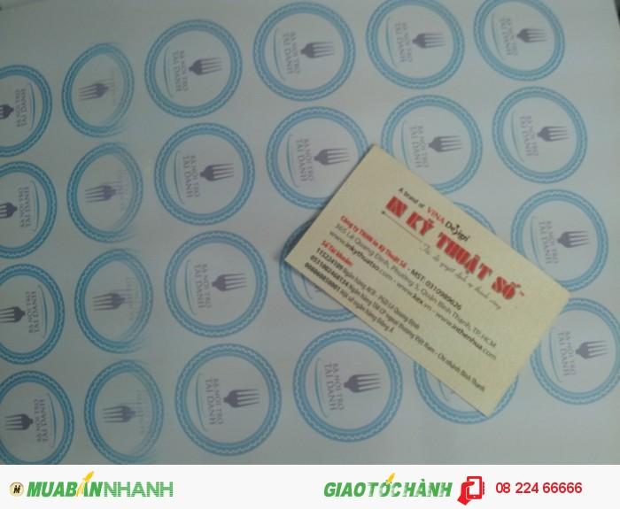 In tem nhãn tròn, chất liệu decal giấy, in mực nước, số lượng đặt in theo yêu...