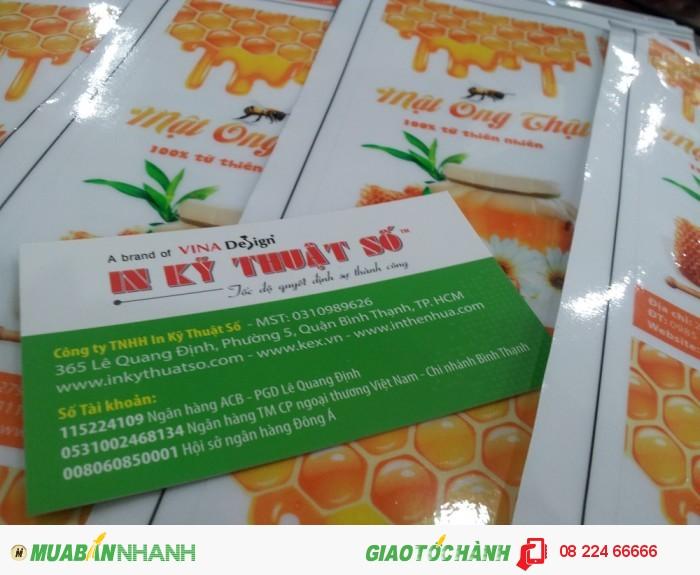 In nhãn dán chai mật ong (thủy tinh, nhựa) | In tem decal trong, kiểu dáng: tem dài dán...