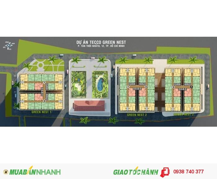 Căn hộ giá rẻ Tecco Green Nest ngay Tham Lương - Q12. 860 triệu/57.6m2 /2PN/2BC/2WC đã VAT
