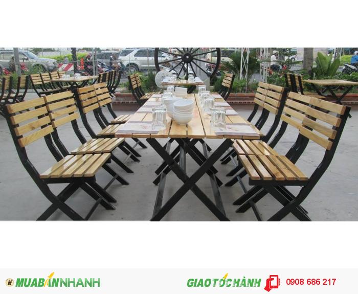 Bàn ghế gỗ quán ăn quán nhậu giá rẻ0