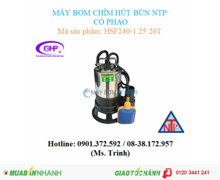 Máy bơm chìm hút bùn có phao NTP HSF240-1.25 26T (1/3HP)0