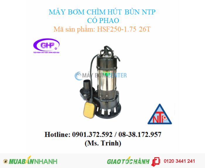 Máy bơm chìm hút bùn có phao NTP HSF250-1.75 26T (1HP)0