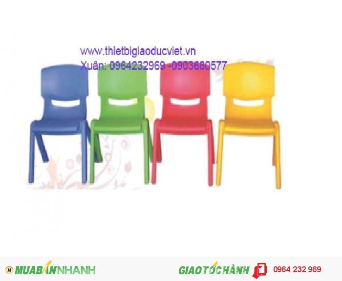 Công ty thiết bị giá dục việt chuyên sản xuất và nhập khẫu bàn ghế mầm non. Ghế mầm non đúc từ nhựa PP có hai kích thước dành cho nhóm trẻ Cao 26cm , dành cho lớp chồi và lớp lá là 28cm Thông thồng ghế mầm non có 4 màu chủ đạo: Đỏ, vàng, xanh lá, xanh dương Bàn mầm non được làm từ nhựa cao cấp PP có kích thước dài 120cm rộng 60cm cao 50cm, Cũng có 4 màu chủ đạo là : Đỏ, vàng, xanh lá, xanh dương,1