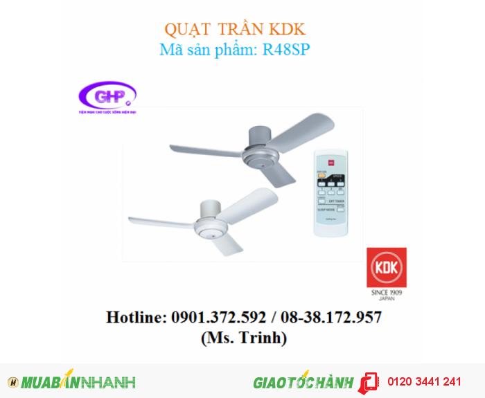 Quạt trần có remote KDK R48SP (trắng, bạc)