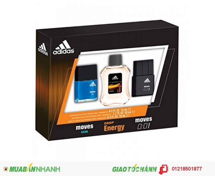Adidas Moves for Him Male Personal Care Men's Omni Eau de Toilette Spray Set, 3 Pc
