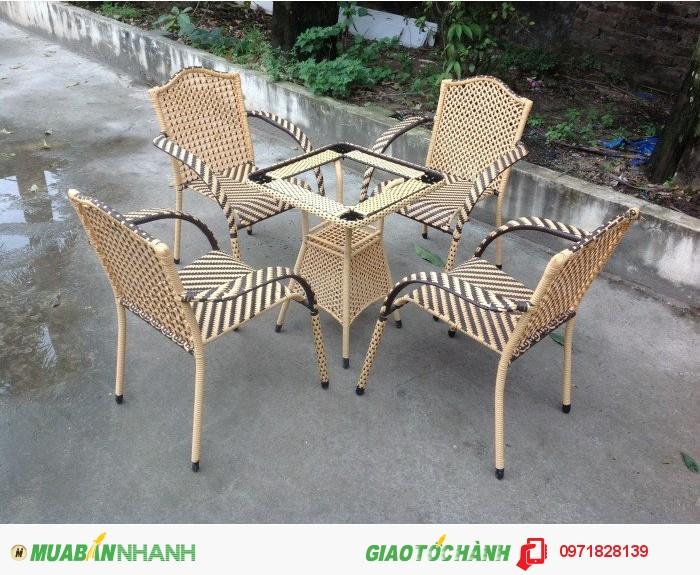 Bàn Ghế Cafe Ghế Mây Nhựa Thanh Lý Giá Rẻ3