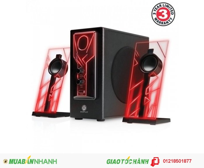 GOgroove BassPULSE Computer Speakers with Red LED Glow Lights & Powered Subwoofer - Works with PC &...