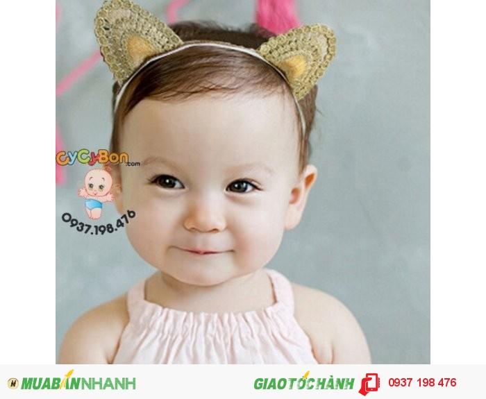 Băng Đô Cho Bé Gái Thun Tai Mèo Ánh Vàng