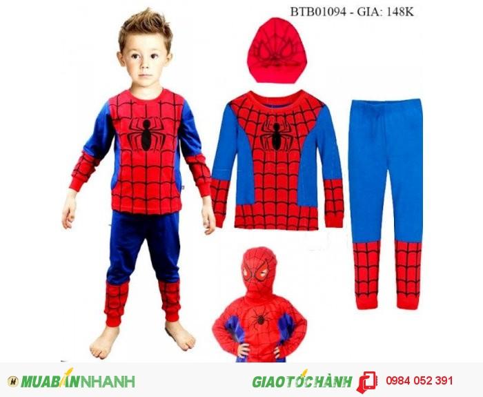 Bộ siêu nhân nhện bé trai cực xì tai ạ, chất cotton 100% co