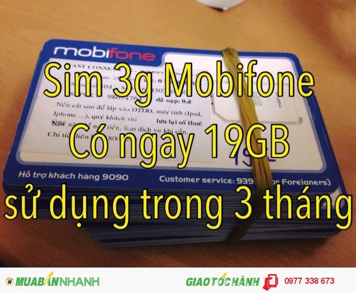Bán sim 3g mobifone dung lượng 19gb xài trong 3 tháng