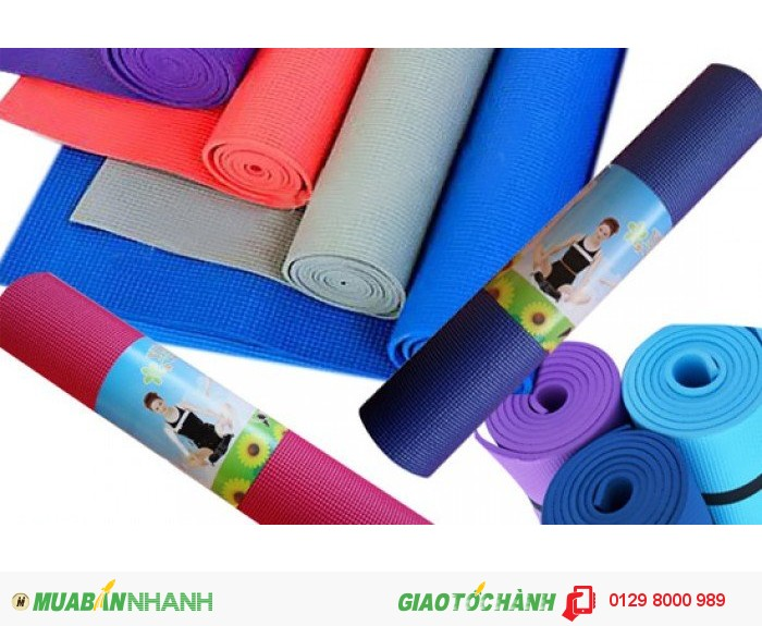 Thảm tập Yoga hàng loại dày kèm túi đựng màu xanh đỏ0