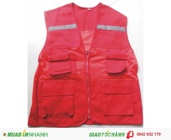 Áo gile vải kaki đỏ L1 phối lưới nhỏ P130