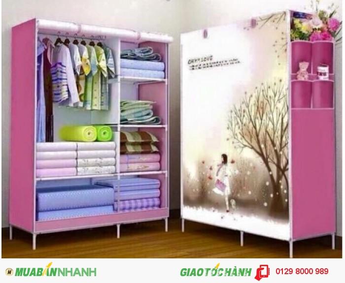 Xả hàng Tủ vải 3D 2 buồng 6 ngăn Màu hồng0