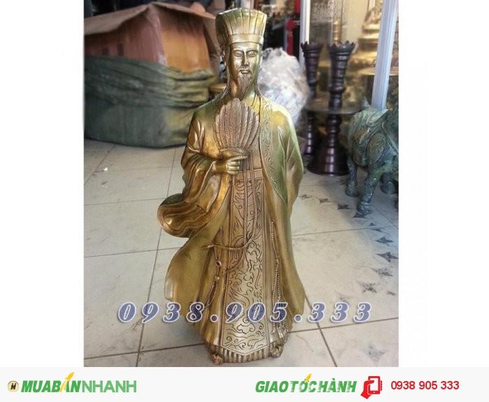 Tượng Khổng Minh cao 50cm, tượng đồng Gia Cát Lượng phong thủy0