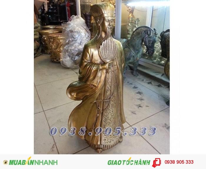 Tượng Khổng Minh cao 50cm, tượng đồng Gia Cát Lượng phong thủy1