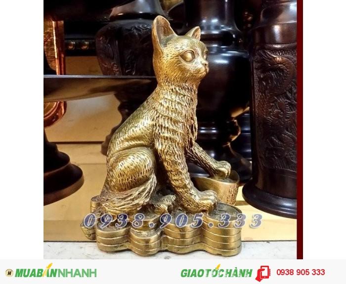 Tượng Mèo đồng 12 con giáp hợp tuổi Mão Mùi, Hợi0