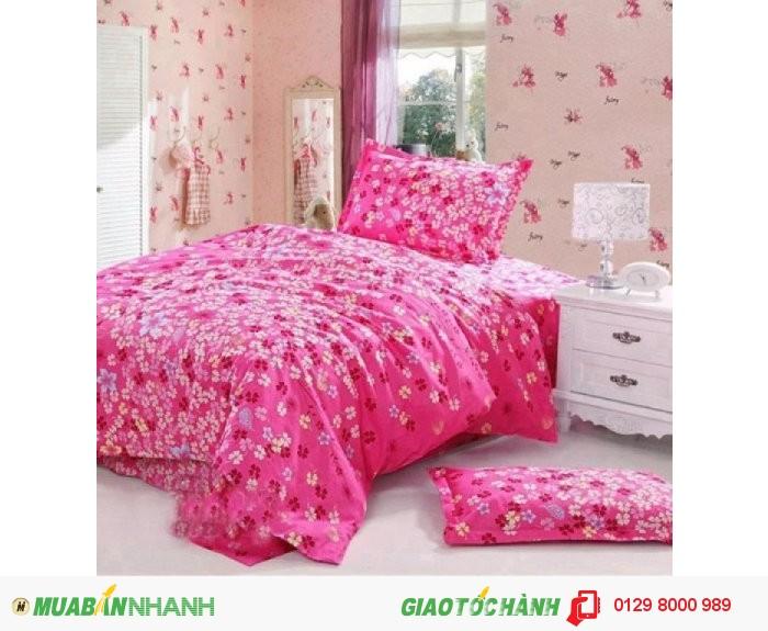 Bộ ga kèm 2 vỏ gối hoa nhí màu hồng m6