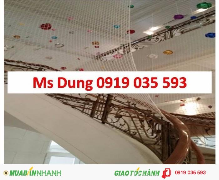 lưới an toàn cho trẻ nhỏ, lưới an toàn trong trường học mẫu giáo, lưới dù trắng, lưới cản vật rơi ở cầu thang, lưới bao hàng hóa