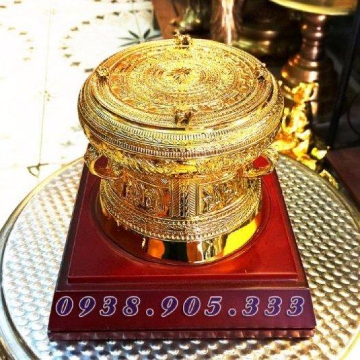 Trống đồng mạ vàng đk 12cm, quà tặng lưu niệm trống đồng0