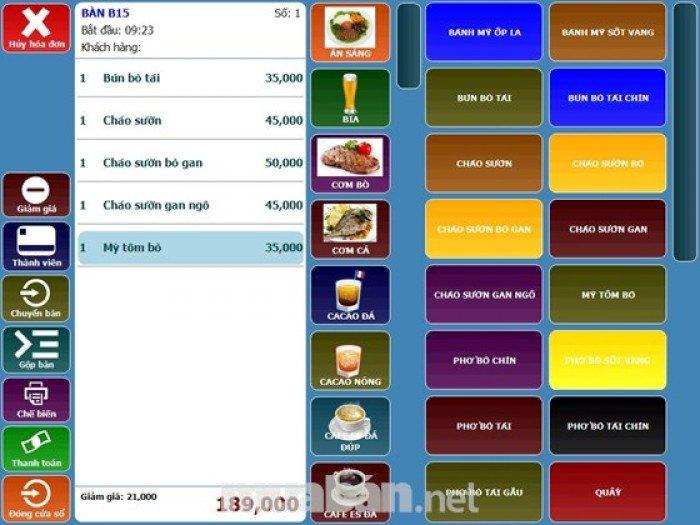 Máy tính tiền cảm ứng đơn giản cho quán cafe điểm tâm giá rẻ tại NINH KIỀU0