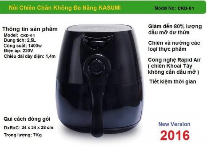Nguyên tắc hoạt động và Đặc Điểm nổi bật của nồi chiên không dầu KASUMI - Sử dụng công nghệ Rapid Air tận dụng tối đa không khí đối lưu trong và ngoài lòng nồi với tốc độ cao để chiên nướng thực phẩm nhanh gấp 2 lần so với loại thông thường.0