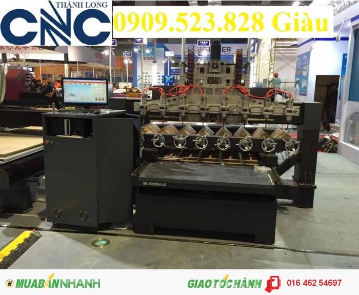 Máy CNC đục tranh gỗ nhiều đầu giá rẻ