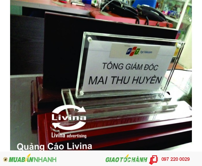 Biển mica để bàn được bán ở đâu? Chúng tôi bán biển mica để bàn tại Hà Nội và T.p Hồ Chí Minh. Chúng tôi luôn có sẵn số lượng lớn vật tư ở kho đáp ứng mọi nhu cầu làm biển mica để bàn. Hãy liên hệ ngay với chúng tôi để nhận báo giá biển mica để bàn tốt nhất., 5