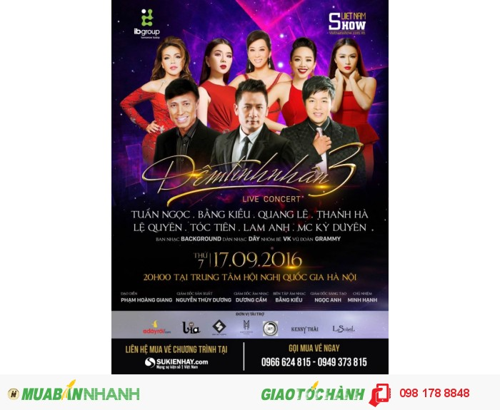 Bán vé Đêm Tình Nhân 3 17/9/2016 - Bán vé Liveshow Bằng Kiều, Quang Lê 2016